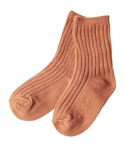 Ribb sokker terracotta