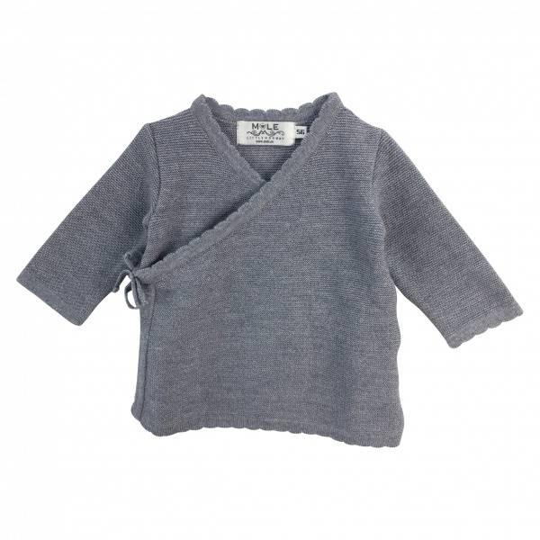 Newborn omslagsjakke i ull lysegrå